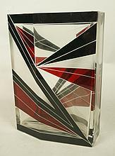 Etched Art Glass HAIDA Vase. Faceted Vase with En