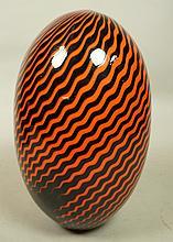 Large Egg Shaped Art Glass Vase. Orange & Black B