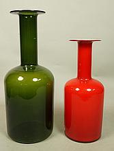 Two Bottle Form Art Glass Vases. One HOLMEGAARD C