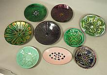 Lot 9pc Signed Vintage Enamel Plates Bowls. One w