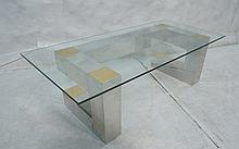 PAUL EVANS Style CITYSCAPE Glass Top Coffee Table