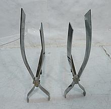 Pr DONALD DESKEY Chromed Steel Andiron Flame Form