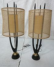 Pair American Modern Ebonized Wood and Brass Tabl