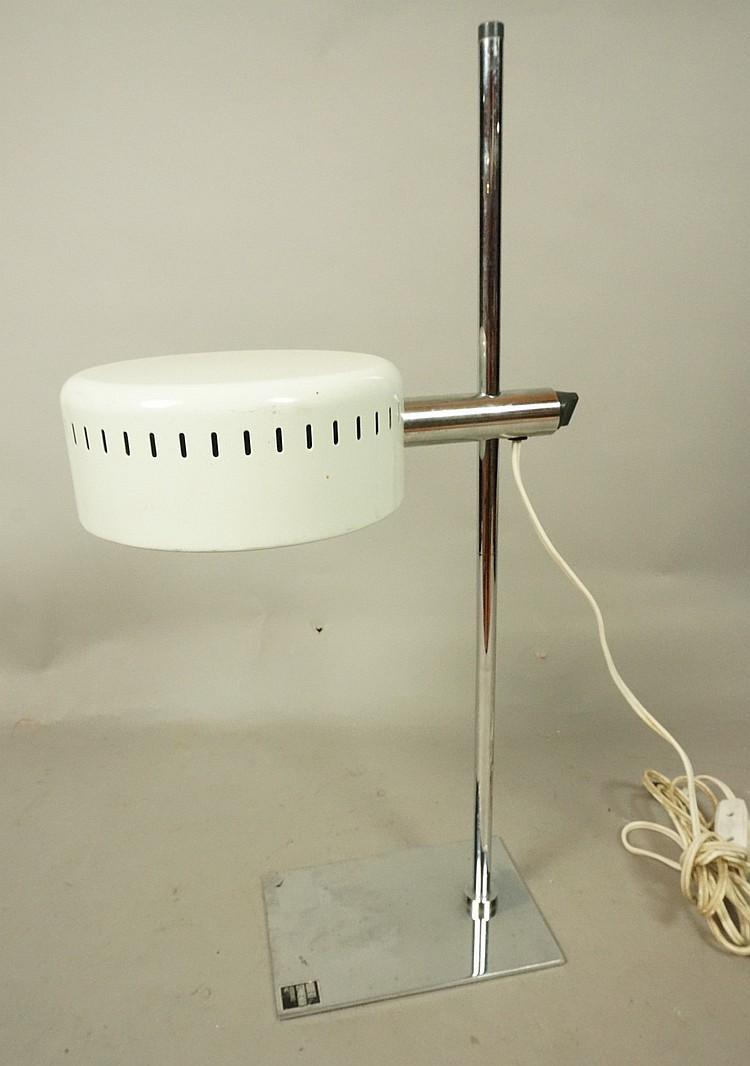 ROBERT SONNEMAN Chrome Desk Lamp. White Enamel Sh