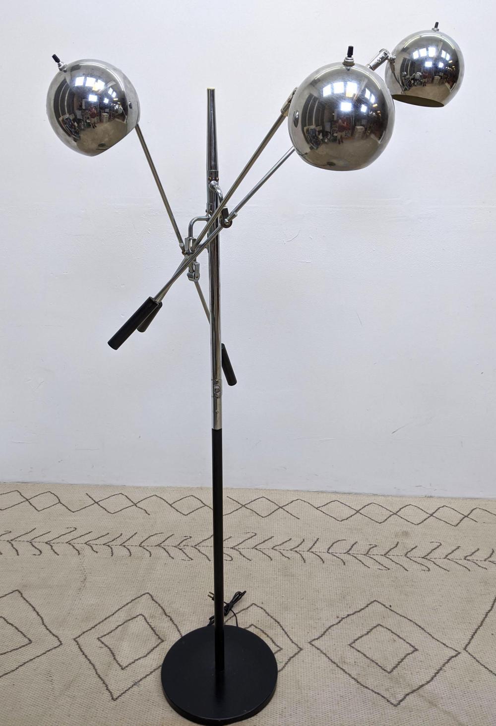 Mid Century Modern Chrome Floor Lamp With Three Arms An