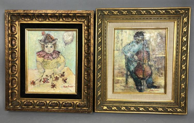 2 SMALL THEDA EVANS OIL PAINTINGS FIGURE WITH CE