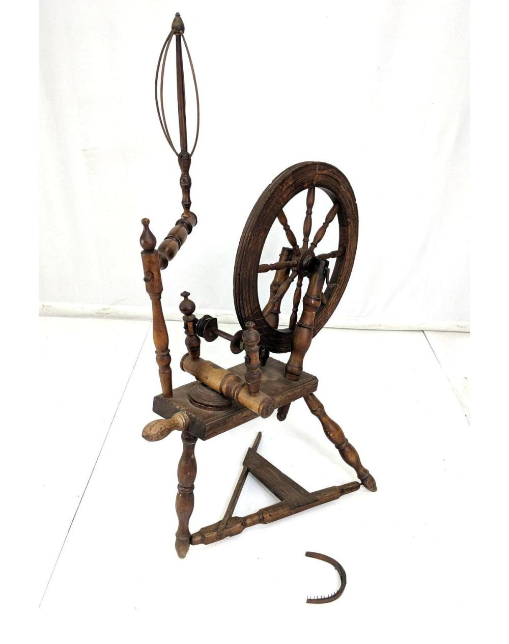 Sold Price Antique Spinning Wheel And Accessories June 2 0119 1 00 Pm Edt