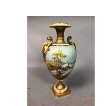 ROYAL WORCESTER ENGLISH HAND PAINTED URN VASE ANT