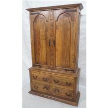 ANTIQUE TWO DOOR ARMOIRE. LOWER CABINET WITH 4 DR