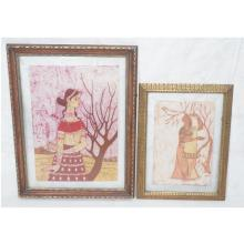 2PC FRAMED FABRIC BATIK PANELS. BOTH DYED BATIK P