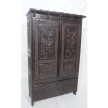 ANTIQUE CARVED WOOD CONTINENTAL WARDROBE. TWO CAR