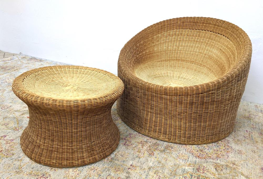 EERO AARNIO FINLAND WICKER CHAIR AND OTTOMAN. LABELLED.