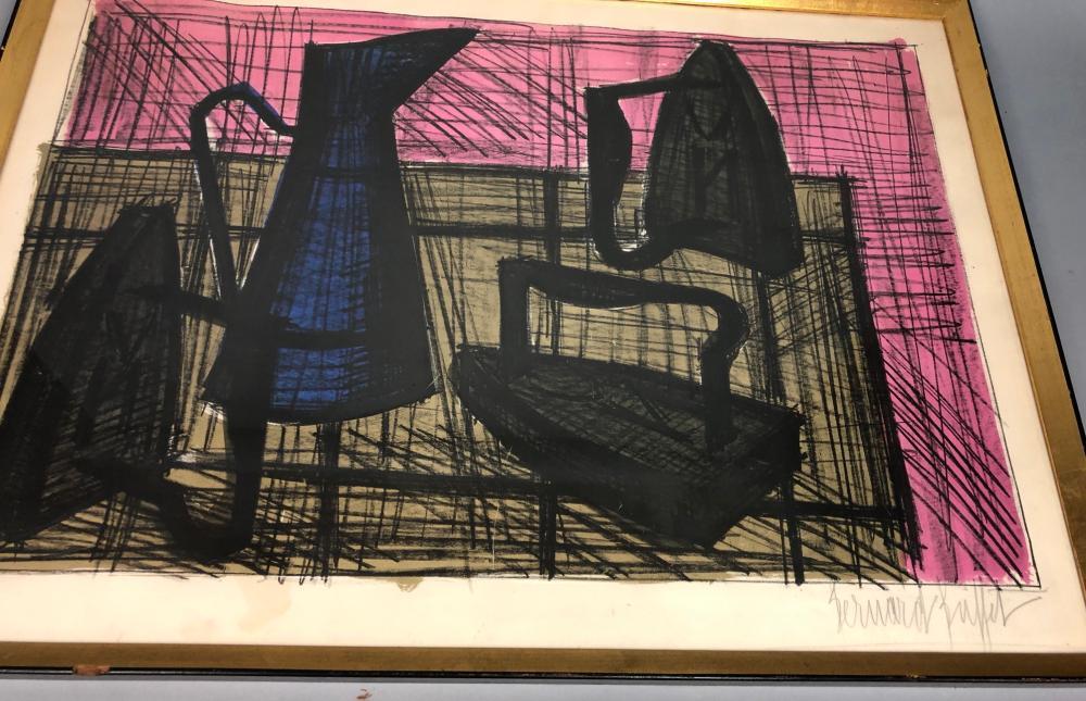 Superb Bernard Buffet Modernist Still Life Litho Print W Home Interior And Landscaping Spoatsignezvosmurscom