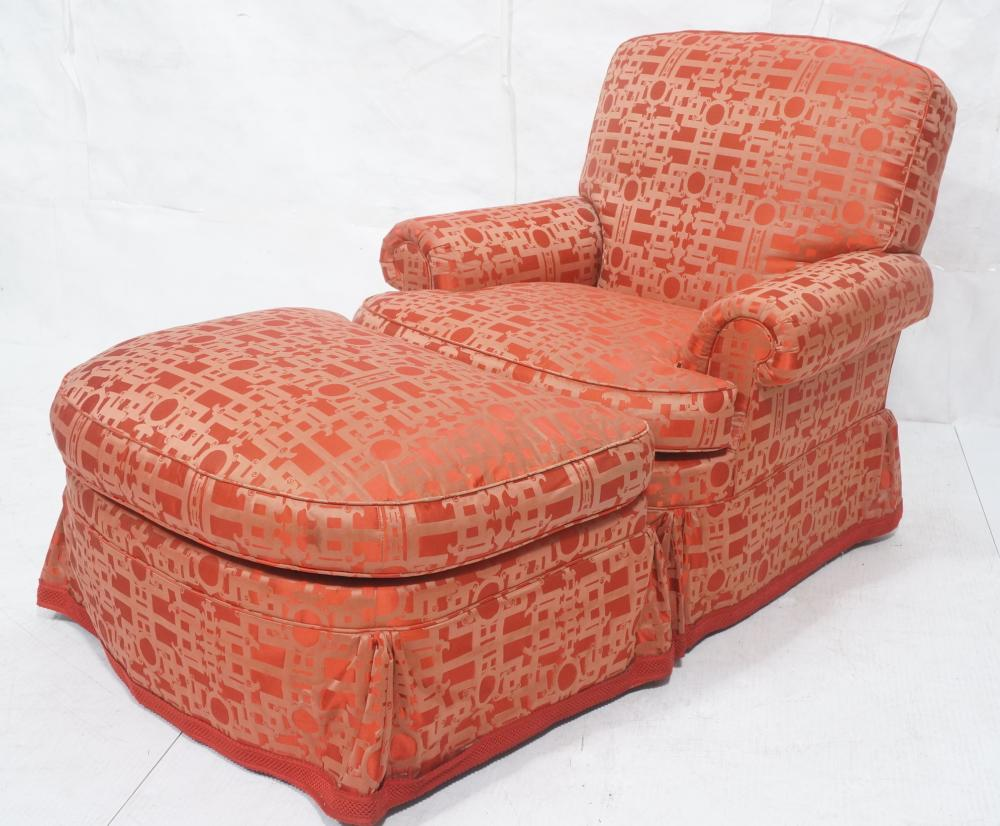Incredible Baker Upholstered Rolled Arm Chair Ottoman Red Ibusinesslaw Wood Chair Design Ideas Ibusinesslaworg
