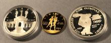 1983 & 1984 3-Coin Commem Olympic Proof Set.  Ori