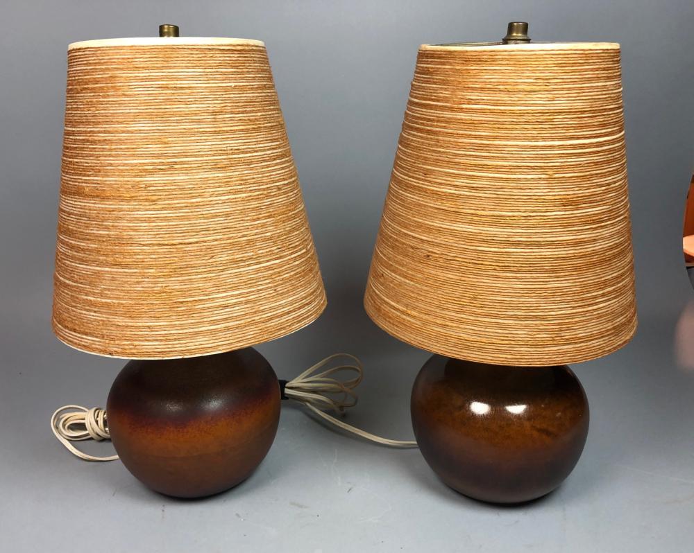 Pr Bostlund Brown Ceramic Table Lamps Modernist