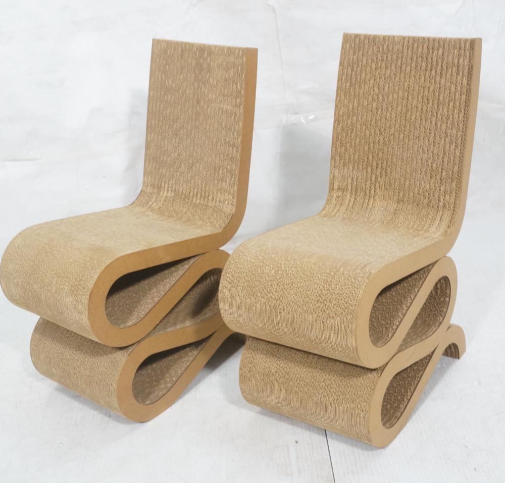 Frank Gehry Chaise Carton pr frank gehry cardboard squiggle side chairs. co