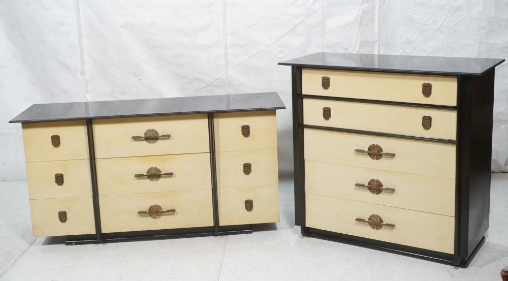 2PC KENT COFFEY ASIAN INSPIRED CHESTS DRESSERS.