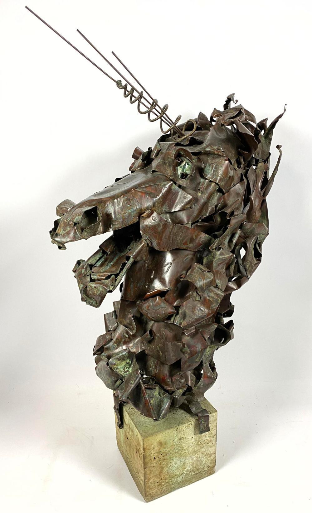 Sold Price Brutalist Welded Metal Horse Head Unicorn Sculpture Gr December 2 0119 11 00 Am Est