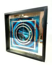 EDUARDO SANZ OP ART SHADOW BOX. BLACK WOOD BOX FRAME WI