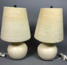 PR BOSTLUND CREAM GLAZED CERAMIC LAMPS. SHORT BUL