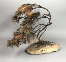 BRUTALIST MODERN MIXED METAL TREE SCULPTURE. BONS