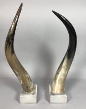 PR. NATURAL STEER HORNS MOUNTED ON LUCITE BASE. M