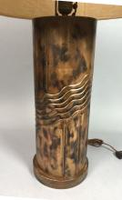 MODERNIST EMBOSSED COPPER COLUMN TABLE LAMP. DECO