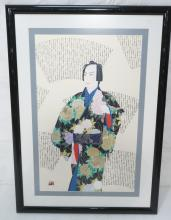 HISASHI OTSUKA PRINT. MAN IN FLORAL KIMONO. LIMIT