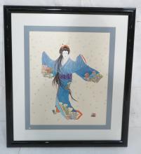 HISASHI OTSUKA PRINT. WOMAN IN BLUE SHUBOURI KIMO
