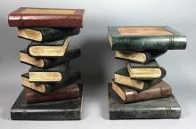LOT 2 STACKED BOOKS END TABLES. CARVED WOOD WITH