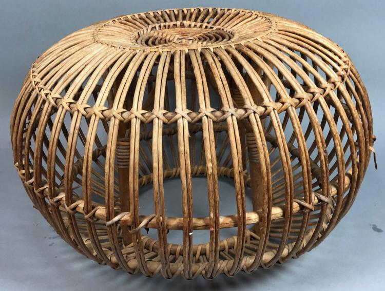 franco albini woven rattan pouf stool ottoman bu. Black Bedroom Furniture Sets. Home Design Ideas