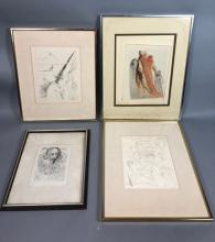 4PC SALVADOR DALI ETCHING PRINTS. 1).