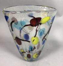LARGE MURANO ART GLASS VASE.  COLORFUL WITH SILVE