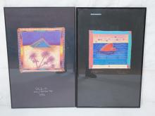 2PC D G SMITH  GRAPHIC COLORFUL ART PRINTS 1). PY