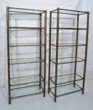 PR DECORATOR GILT METAL FAUX BAMBOO ETAGERE SHELV