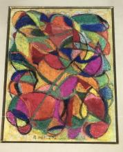 ADOLF HOLZEL ABSTRACT COLORFUL PASTEL CHALK DRAWI