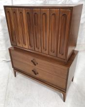 TALL MODERNIST CHEST ON CHEST WALNUT DRESSER. SCU