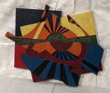 LUCILLE DRISKELL PAINTED WOOD RELIEF WALL SCULPTU