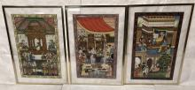 SET 3 PERSIAN PAINTINGS ON PAPER. LIFE SCENES WIT