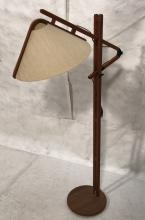 DANISH MODERN TEAK CANTILEVER FLOOR LAMP. FABRIC