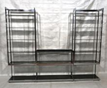 3PC MODERN CHROME ETAGERE DISPLAY UNIT. PR TALL U