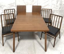 5PC ROBSJOHN GIBBINGS DINING TABLE & CHAIRS WIDDI
