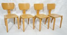 4 THONET LAMINATED BLOND WOOD MODERN SIDE CHAIRS.