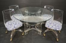 HILL 5 PC LUCITE DINING SET TABLE 4 ROLLING CHAIR