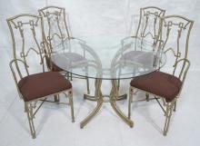 5PC FAUX BAMBOO GLASS TOP DINING SET. ASIAN STYLE
