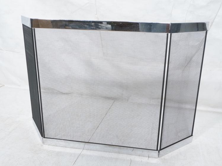 Chrome Black Mesh Modernist Fireplace Screen Bi
