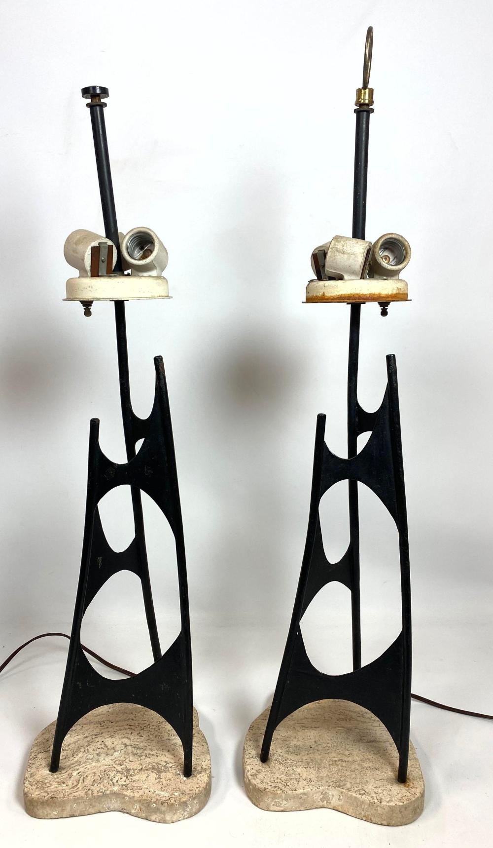 Image of: Sold Price Pair Artisan Mid Century Modern Table Lamps Freeform June 2 0120 10 00 Am Edt