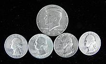 4 Silver Washington Quarters + 1 1968-D Kennedy Half