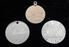 3 Love Tokens 2 Silver Seated Dimes 1885, 87, 1 Copper